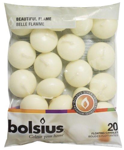 bolsius Schwimmende Kerzen , Paraffin-Wachs, Elfenbeinfarben, 20 Stück, L:30mm, ⌀45mm