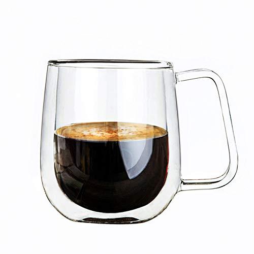 Erjialiu 250Ml koffiemok dubbele glazen koffiekopjes eenvoudige dubbele handgrepen met een handvat cadeau voorkeur