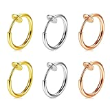 MODRSA 16G Fake Nose Ring Spring Hoop Faux Lip Earrings Cartilage Septum Clip on Surgical Steel Ear Lobe Helix Anti Conch Non Piercing Jewelry for Women Girls