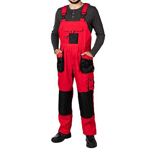 Pantalones de Trabajo para Hombre, Pantalon de Seguridad, Pantalones con Peto de Trabajo para Hombre, Ropa Hombre, Bolsillos Multiusos, S - 3XL, con Rodilleras Trabajo. (S, Rojo)
