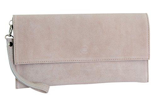 AMBRA Moda Damen Wildleder Clutch Handtasche veloursleder Tasche Handschlaufe WL811 (Altrosa)