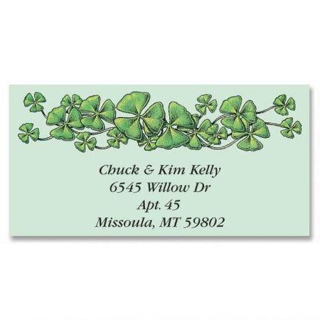 Personalized Shamrocks St. Patrick's Day Address Labels - Set of 144 Self-Adhesive, Flat-Sheet Irish labels