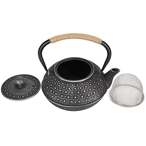 Chaleira de chá, bule de ferro fundido de 0,8l que imita estilo japonês, decoração de presente com padrão de concha de tartaruga prata sem revestimento