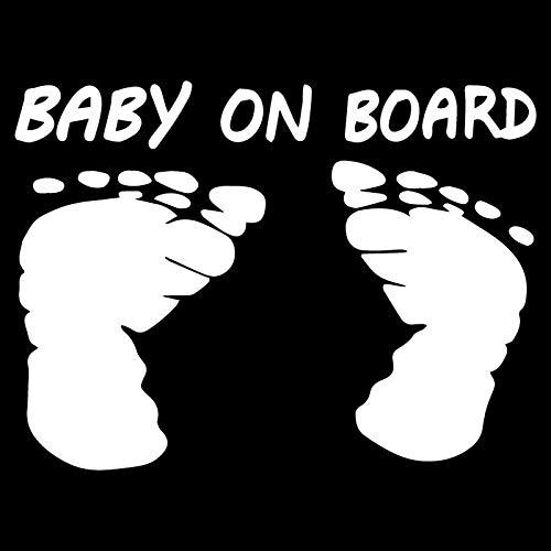 LGLGXR Pegatinas de automóviles Bebé a bordo de dibujos animados Pegatinas de coche Huellas Creativas calcomanías decorativas impermeables Protector solar negro/blanco, 16 cm X 12 cm