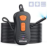 Dual-Screen Endoscope[Upgraded Version], Oiiwak Dual Lens WiFi Borescope Inspection Camera Waterproof for iPhone Android Smartphone Tablet 3X Zoom HD Snake Camera with Light(3.5m/11ft)