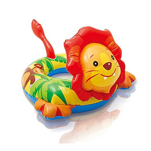 HRXS Pequeño Anillo Flotante Inflable, PVC Duradero, Anillo de natación Silla de salón, Fiesta de Verano en la Playa y Piscina, Adecuado para niños de 3 a 6 años,Lion