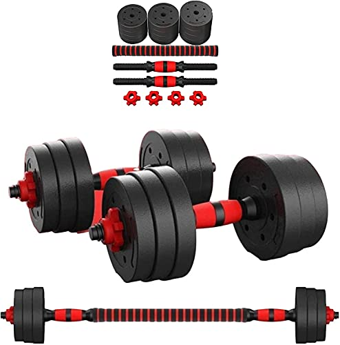 Kit Mancuernas Regulables 30KG Musculación Juego Pesas 2 en 1 Barra Conector Ajustable Set Pesas Gimnasio en Casa Pack Dumbbell Hombre Mujer Principiantes Entrenamiento Fuerza