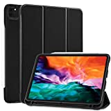 SIWENGDE Case for iPad Pro 12.9 case 4th Generation 2020 with Pencil Holder, Slim Lightweight Trifold Stand TPUSmart Protective Case Cover for Kids (Black)