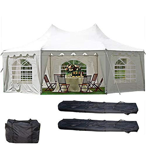 DELTA Canopies 29'x21' Decagonal Wedding Party Tent Canopy Gazebo Heavy Duty Water Resistant White