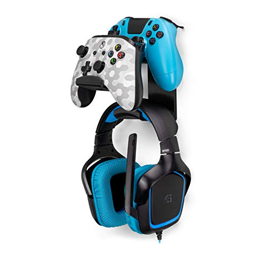 The UberAtlas - Dual Game Controller & Headphone Stand Wall Mount Holder for Xbox ONE, Series X, PS5, PS4, PS3, Switch, STEELSERIES Gamepad & More, Stay Organized No Screws by Brainwavz (Black)