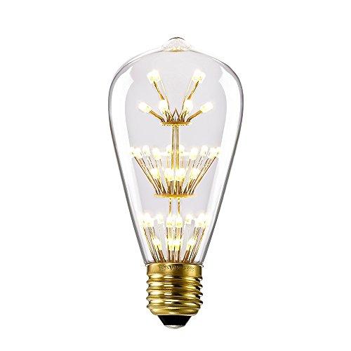 Kiven ST64 Vintage Edison Design A19 E26 2200K Warm White Retro Energy Save Beautiful and Romantic Starry Decorative 3W LED Light Bulbs