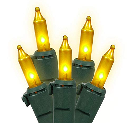 Brite Star Set of 100 Opaque Gold Mini Christmas Lights - Green Wire
