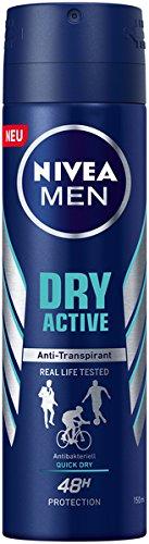 NIVEA MEN Dry Active Deo Spray im 6er Pack (6 x 150 ml), Antitranspirant mit starkem und zuverlässigem Deo-Schutz, Deodorant mit 48h Schutz