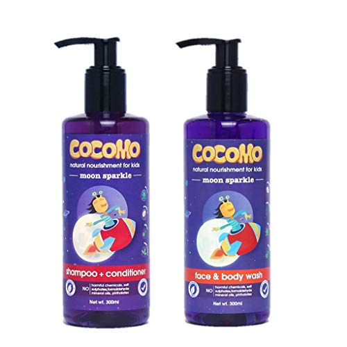 Cocomo Natural - Shampoo and Body Wash for Kids - No Parabens & Sulphates - Moon Sparkle 300Ml