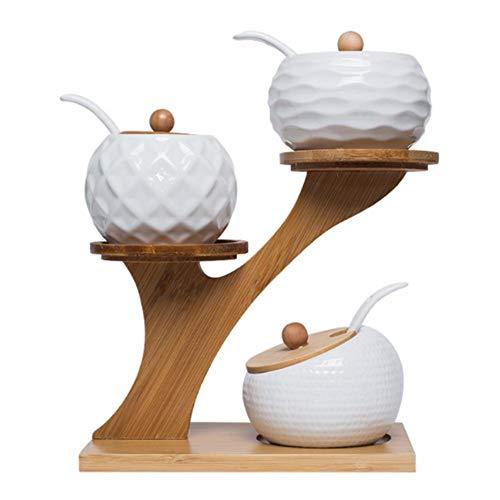 Ardentity Gewürzregal Keramik und Bambus, 3 Gewürzdosen mit Deckel und Halter als Gewürzständer und Dipschalen für den Tisch inklusive passender Löffel, Natur