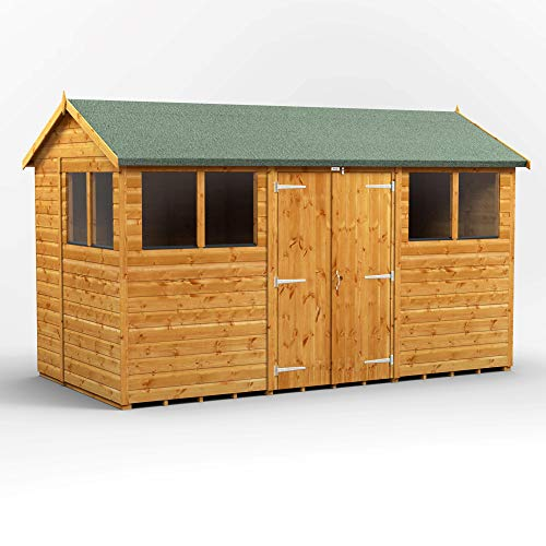 POWER Sheds wooden shed. 12x6 apex wooden garden shed. Double door workshop shed 12 x 6.