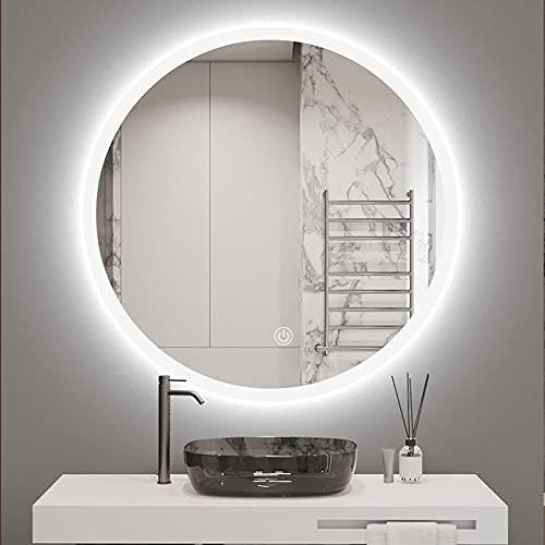 Espejo de Baño LED Redondo, Ampliar El Borde de Las Luces LED, Espejo de Pared con Iluminación, Espejo de Maquillaje con Interruptor Táctil y Antivaho