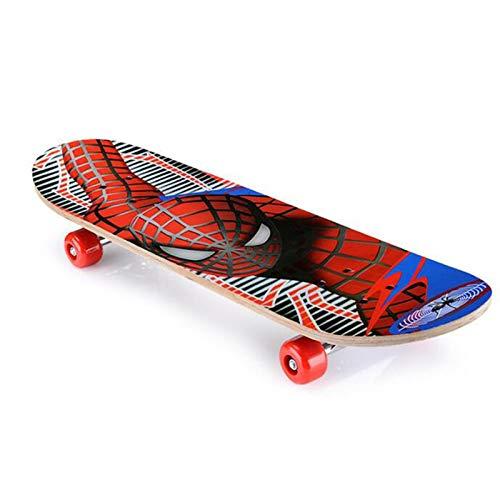 CYSHAKE Skateboard para niños Spiderman Longboard Maple Double Rocker Crucero para niños Monopatín