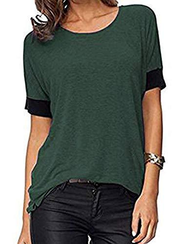 ELFIN Frauen Damen T-Shirt Rundhals Kurzarm Ladies Sommer Casual Oberteil Locker Bluse Tops - Weiches Material - Sehr Angenehm Zu Tragen (SV6PO6JR) (Dunkel Grün, M)