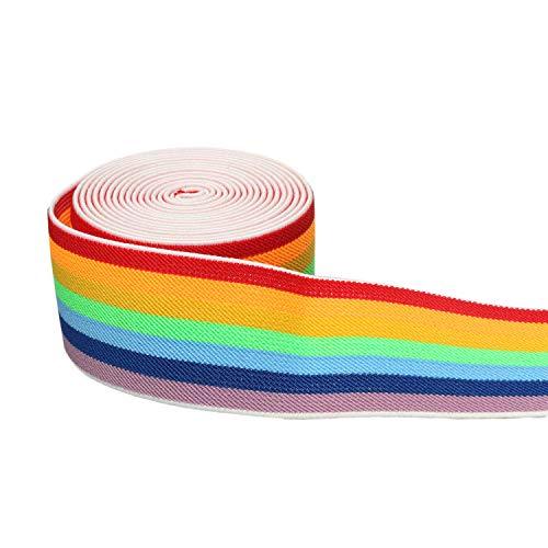 5,1 cm elastisches Band, Regenbogen-Muster, Bund, bunt, dehnbar, zum Nähen, elastische Einfassung, 2,7 m