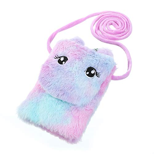 VALICLUD Bolso Bandolera de Unicornio de Felpa, Bonito Bolso de Hombro Esponjoso con arcoíris, Monedero de Piel sintética, Bolso para teléfono móvil, para niños y niñas