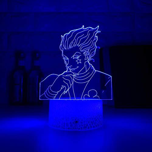 Luz nocturna LED de regalo para niños, sensor táctil multicolor, luz nocturna anime Hunter X Hunter Decor Light Cool 3D lámpara Hisoka Gadgets ZGLQ