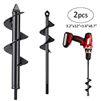 """Biubee 2 Pcs Auger Drill Bit- 3.2'' x 12"""" and 1.6'' x 8.7"""" Garden Drill Bit Garden Plant Auger Post Hole Digger for 3/8"""" Hex Driver Drill Planting"""