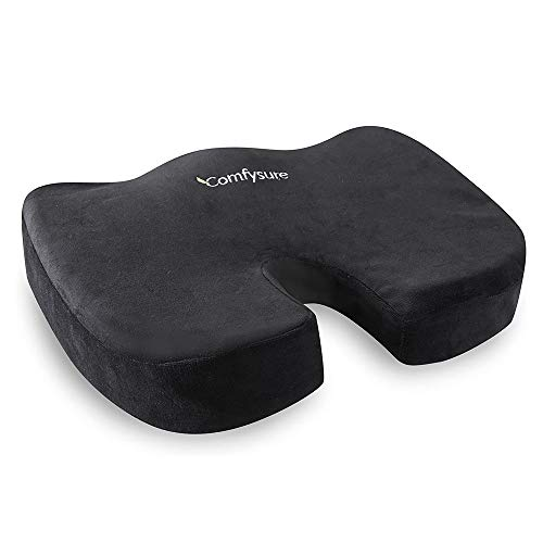 ComfySure Memory Foam Seat Cushion with Removable Microfiber Cover - Coccyx, Tailbone, Sciatica, Lower Back Support and Pain Relief - Fits Most Office, Desk, Computer Chairs and Car Seats