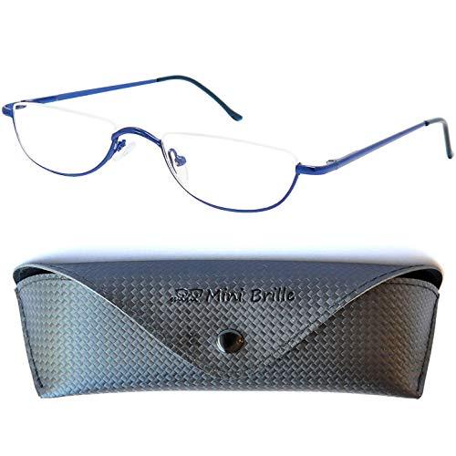 Metall Lesebrille Halbbrille - mit GRATIS Brillenetui und Brillenputztuch, Edelstahl Halb Rund Rahmen (Blau) mit Federscharnier, Lesehilfe Damen und Herren +2.0 Dioptrien