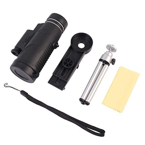 OUCRIY Telescopio monocular profesional HD 50 x 60 monocular impermeable antideslizante con lámpara monocular para observar aves salvajes, caza, camping