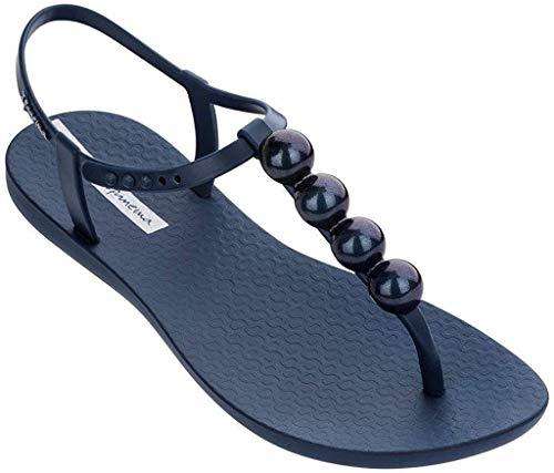 Ipanema Sandalen Damen Zehen-Sandale Gummi-Sandalen Zehentrenner Knöchelriemchen Spangen Strap Steg Flipflops-Sandale Druckknopf-Verschluss (39, Blue 21253)