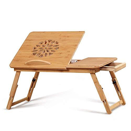 HYY-YY Mesa plegable ajustable del ordenador portátil tabla del escritorio del 100% de bambú con ventilador USB plegable que sirve el desayuno bandeja de la cama conveniente for el hogar, etc. mesa po