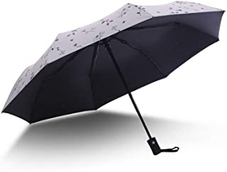 Reinforced Travel Umbrella Compact Waterproof Folding Umbrella with Auto Open Close Button Off-White