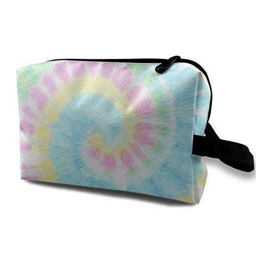 XCNGG Bolsa de almacenamiento de maquillaje de viaje, bolso de aseo portátil, pequeña bolsa organizadora de cosméticos para mujeres y hombres, Rainbow Tiedye