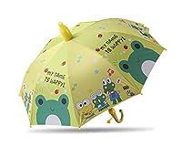 傘 8つの骨の半自動子供の傘の子供傘漫画車の傘ビニールの日焼け止め紫外線保護学生傘 (Farbe : Medium Frog)