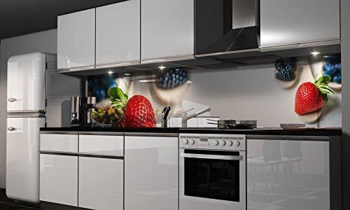 More Design Küchenrückwand-Folie die Erdbeere Klebefolie Spritzschutz Küche Fliesenspiegel Möbel Rückwand selbstklebend | mehrere Größen | DIY