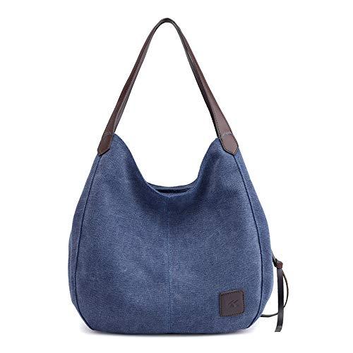MINGZE Lona Bolso de mano, Bolso de bandolera Bolsa de cuerpo cruzada Bolsa de hombro Bolsa de ocio Bolso de mano de la Mujer (Azul oscuro)