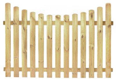 XycoX StaketenZaun 'Premium' 180x120/100 cm - unten – kdi / V2A Edelstahl Schrauben verschraubt - aus getrocknetem Holz glatt gehobelt – nach unten Gebogene Ausführung - kesseldruckimprägniert
