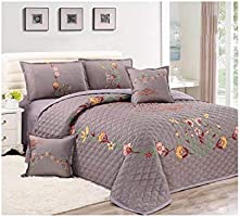 Floral Compressed 6Pcs Comforter Set, King Size, Px-002, Gray,