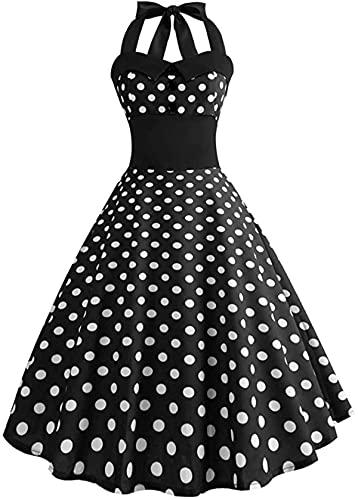 Vintage 1950s Rockabilly Polka Dots Dress Retro Bodycon Halter Backless Vestidos de cóctel de noche