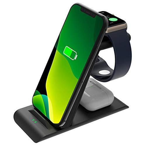 SPGUARD Estación de carga inalámbrica 3 en 1 compatible con Apple Watch SE 6 5 4 3 2,AirPods Pro/2, iPhone 13/13 Pro/13 Pro Max 12/11/Pro Max/X/XS/XR/8 Plus QI Múltiples Dispositivos Cargador