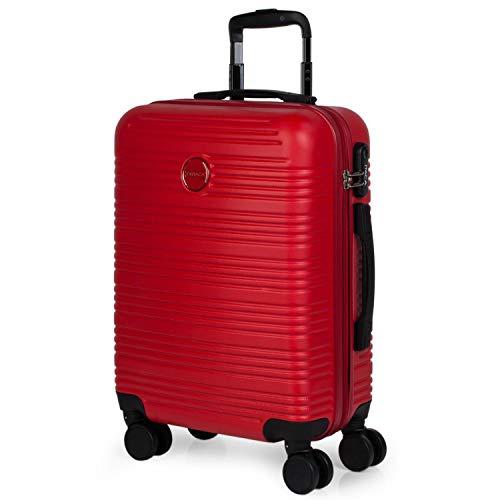ITACA - Maleta de Viaje Rígida Pequeña 4 Ruedas 55x40x20 cm Cabina Trolley abs. Equipaje de Mano. Dura Cómoda y Ligera. Candado. Low Cost Ryanair. T72150, Color Rojo
