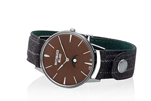Watchmaker Milano Orologio Uomo Analogico da Polso Slim con Fasi Lunari Vintage (Marrone)