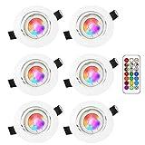 LED Spots Encastrables Orientable RGB Couleur Changement Lampe Blanc Froid 6000K Plafonnier Encastré 5W Equivalente de 35W Ampoule 30°Orientable 120°d'éclairage 220V Rond Métal Blanc avec Télécommande