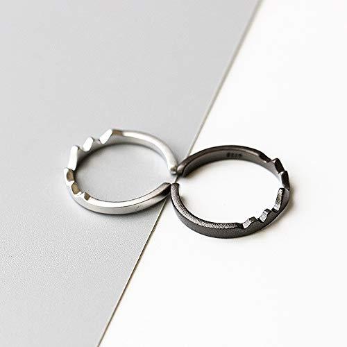 Daimay 2PCS Handgemachte Offener Rings Persönlichkeit Schnee Berg Ring Crown Finger Bergring Ring für Reise-touristisches Bergsteigen mit veränderbarer Länge - Schwarz und Silber