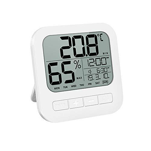 OOFAY Temperatura Interna e umidità con Una Sveglia Intelligente, Display LCD, igrometro Trasparente, alloggiamento in Resina ABS per Essere di Bambino Bagnato Anche facilità d\'uso