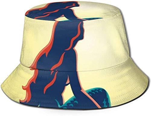 GOSMAO Sombrero de Cubo Little Mermaid Printed Packable Summer Outdoor Cap Sun Fishing Boonie Hats-578