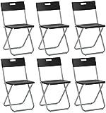 savino Felipe SRL 6sillas silla Plegable negra IKEA gunde de acero hierro y Metal para Sala de espera casa Invitados cocina Salón Camping Bar restaurante catering vaquero Plegable