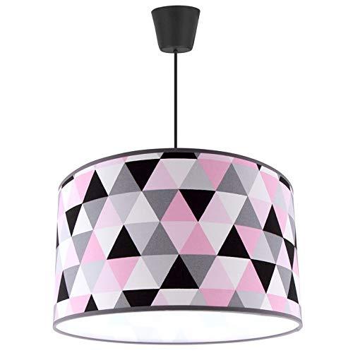 FKL Lámpara de techo colgante hermosa lámpara moderna negra gris blanco redondo E27 ABH1L (rosa, gris y negro)