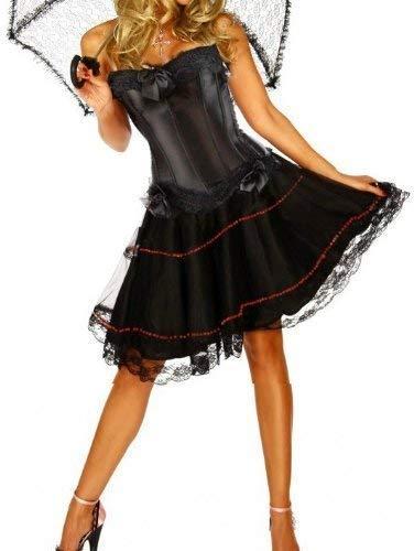 Forever Jonge Dames Korset Jurk Alle Zwarte Burlesque Moulin Rouge Fancy Jurk Kostuum Korset top + Knielengte Satijn Rok